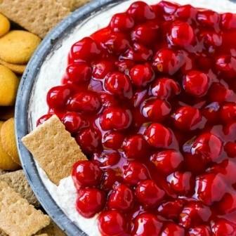 Cherry Cheesecake Dip with Graham Crackers