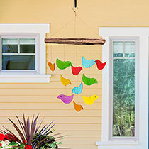 Recycled Glass Bird Wind Chime
