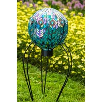 Mosaic Peacock Gazing Ball & Stand