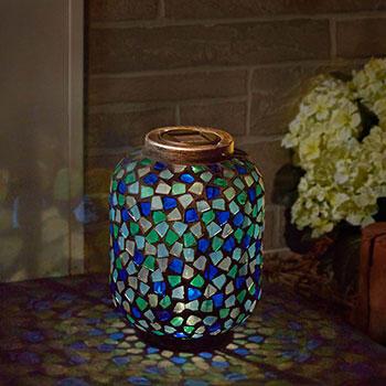 Blue Mosaic Solar Lantern