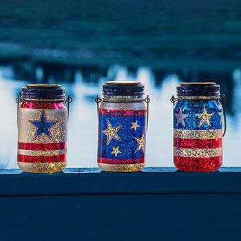Solar Patriotic Jars