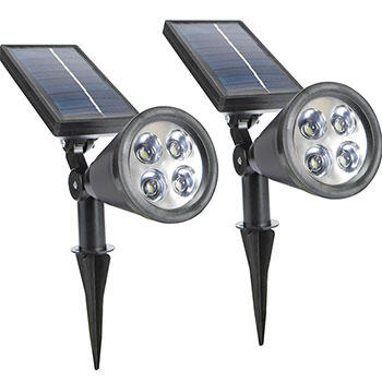 2-in-1 Waterproof 4-LED Solar Spotlight - Set of 2