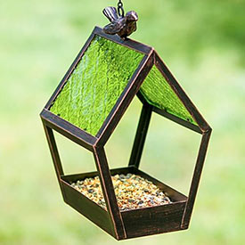 Geometric Glass Panel Bird Feeder