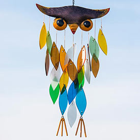 Owl Frosted Glass Wind Chime