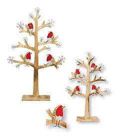Birds in Trees Sculptures - Set of 2