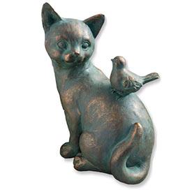 Friendly Cat with Bird Statuary