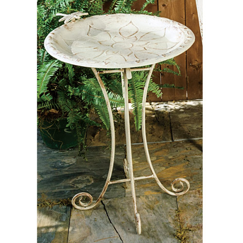 Antique Aluminum Birdbath