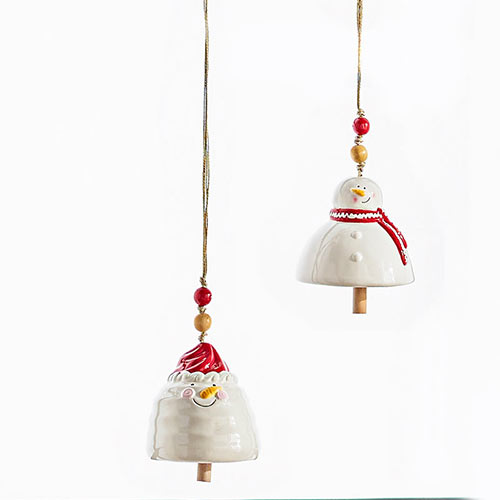 Ceramic Snowman Bells–Set of 2