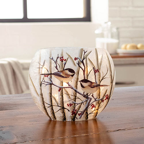 Winter Chickadees Glass Accent Light