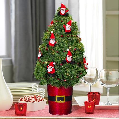 Dancing Santas Decorated Spruce Tree