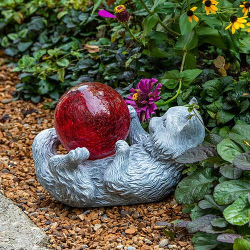 Gazing Ball Cat