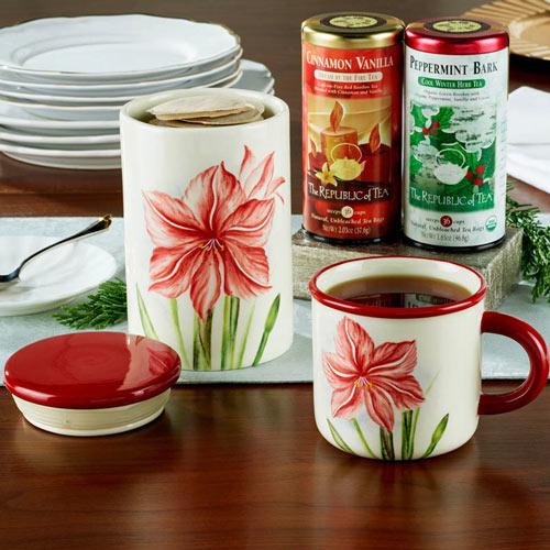 Amaryllis Canister and Mug Set