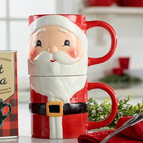 Stacking Santa Mugs