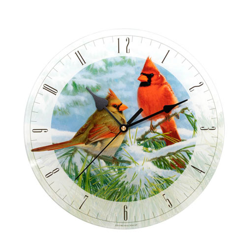 Winter Cardinals Glass Clock