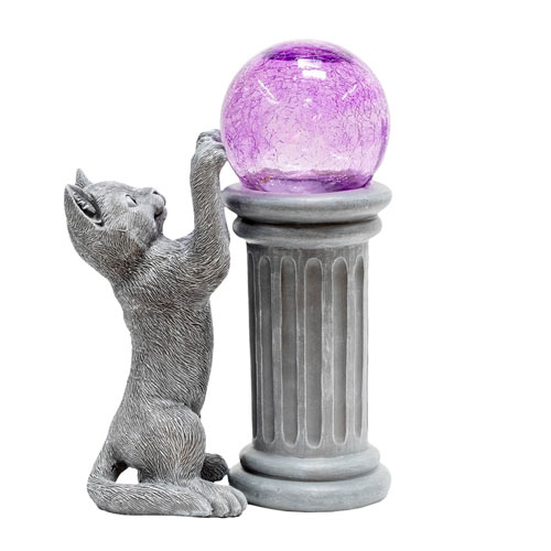 Playful Cat And Solar Gazing Ball