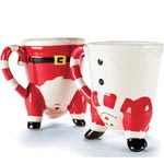 Dancing Santa Mugs Set of 2