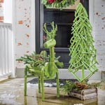 Green Reindeer Planter& Everlasting Twig Tree