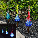 Solar Spiral Glass Stakes - Set of 3