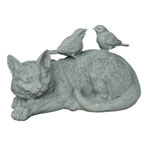 Sleeping Cat with Birds Statuary