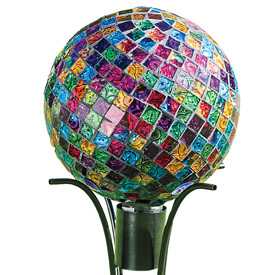 Mosaic 10'' Gazing Ball and Stand Combo