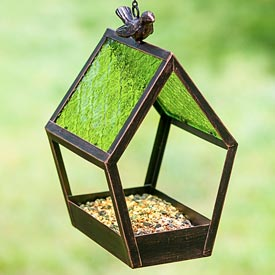 Geometric Glass Panel Bird Feeder