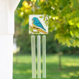 Glass Bluebird Wind Chime