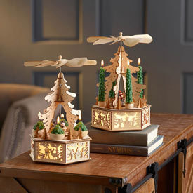 Lighted Alpine Carousel - Lighted Alpine Carousel With Taper Trees
