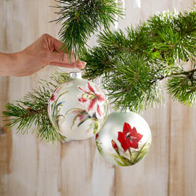 Amaryllis Glass Ornaments - Set of 2