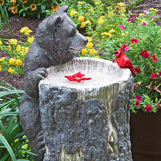 Baby Bear Birdbath with Cardinal