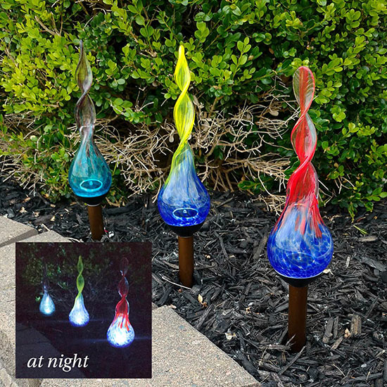 Spiral Glass Solar Stakes - Set of 3