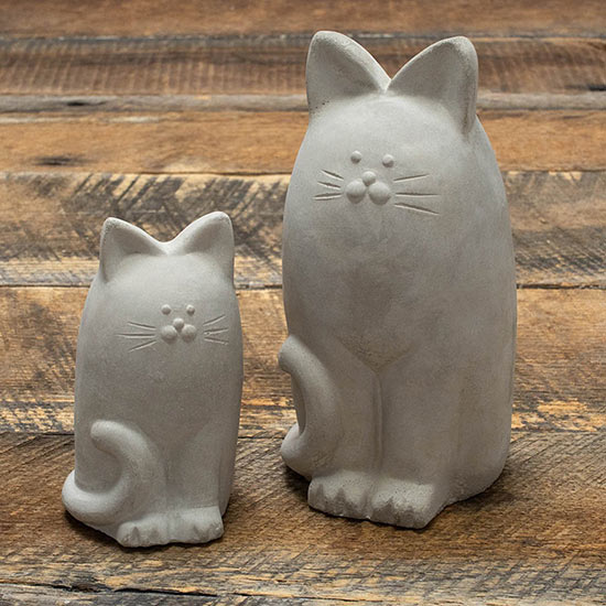 Concrete Cat Statues–Set of 2