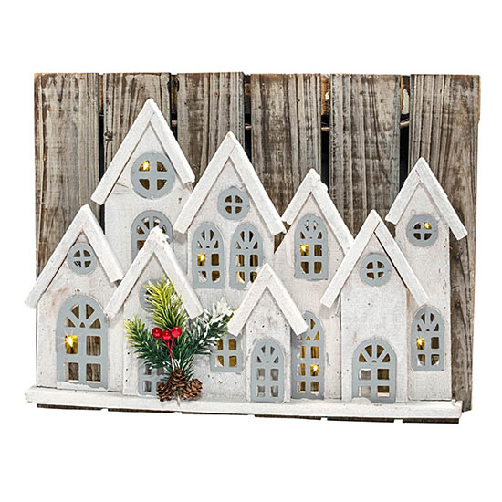 Holiday Village Lighted Wall Art