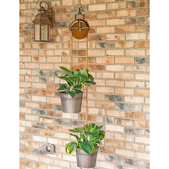 Vintage Pulley with Hanging Planters