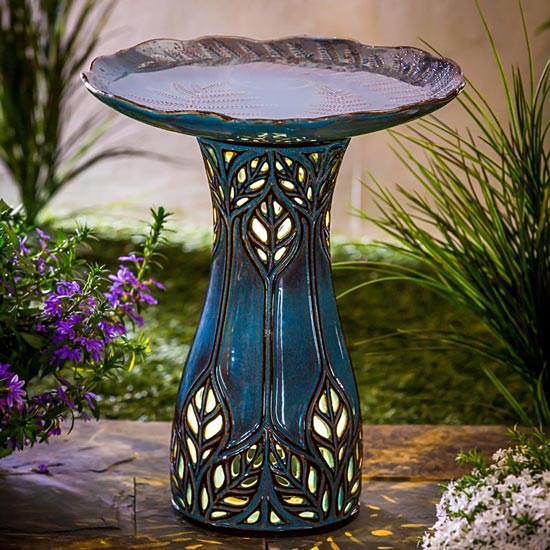 Lighted Ceramic Bird Bath