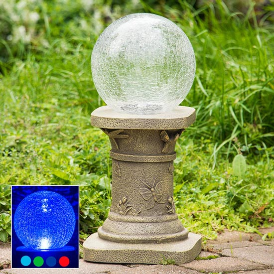 Solar Color Changing Gazing Ball and Stand