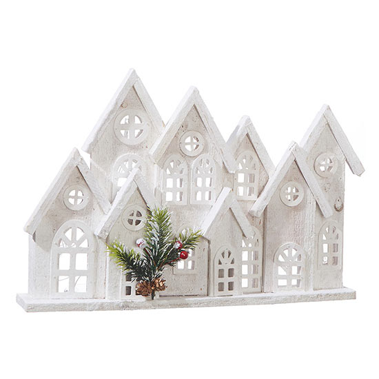 Lighted Village Mantelpiece