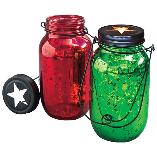 Red and Green Mercury Glass Lanterns