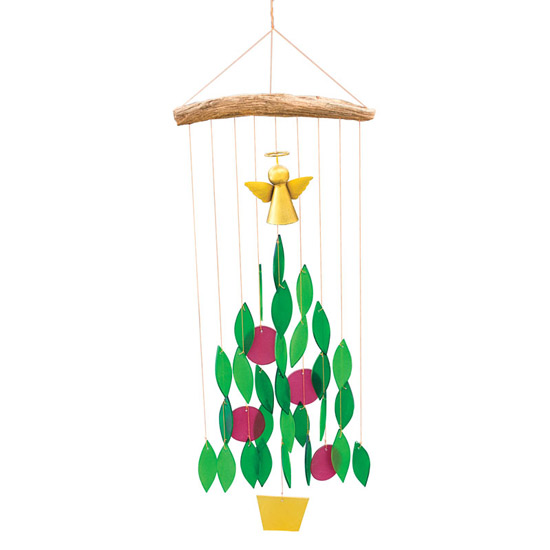 Glass Christmas Tree Wind Chime