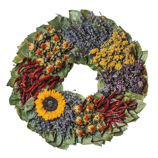 18 Preserved Sunflower & Herb Wreath