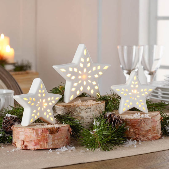 Porcelain LED Star Lights - Set of 3