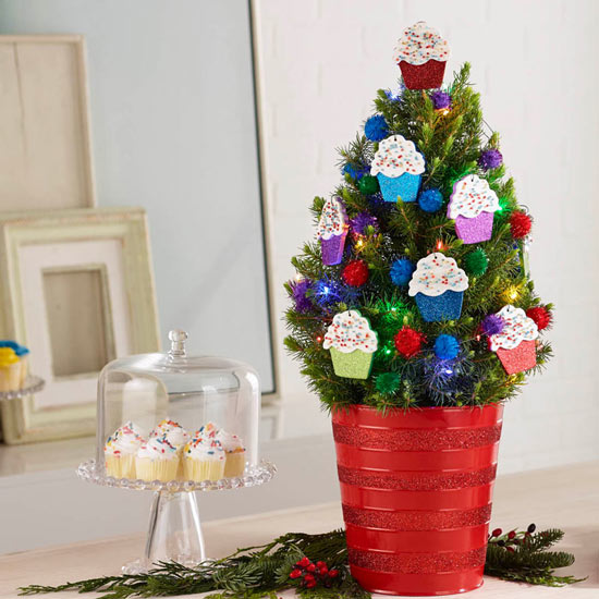 Colorful Cupcake Potted Spruce