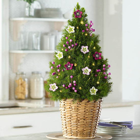 Berries And Blooms Decorated Spruce Tree