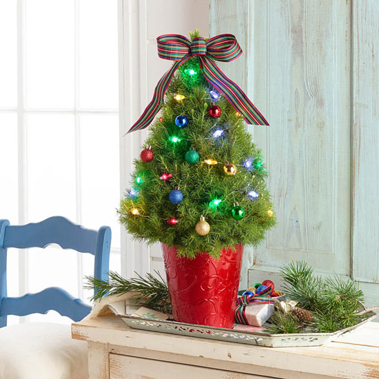 Nostalgic Holiday Decorated Spruce Tree