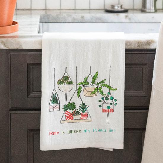 Houseplants Tea Towel