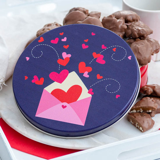 Pecan Supremes in Love Letters Tin