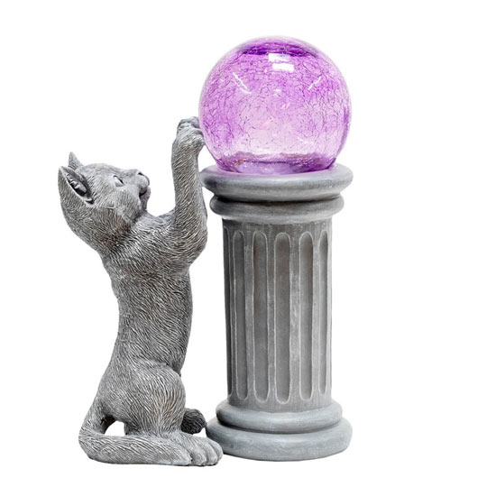 Playful Cat and Solar Gazing Ball