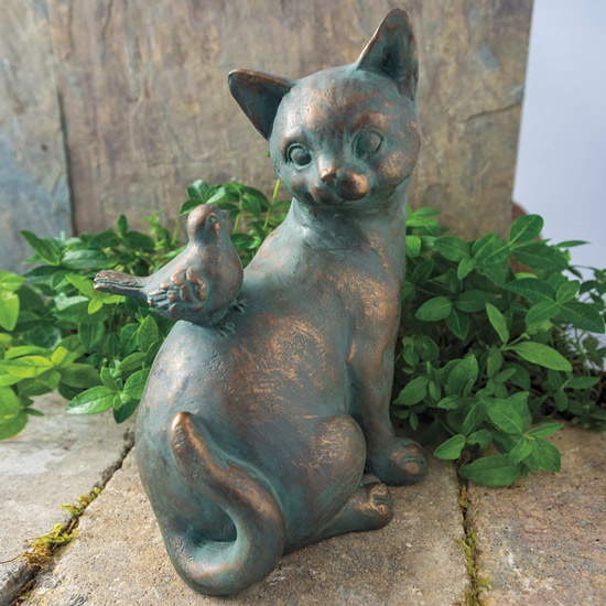 Friendly Cat with Bird Statuary