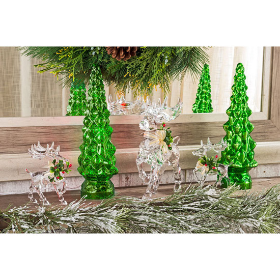 Green Speckled Tree Lamps – Set of 2
