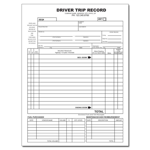truck driver trip envelope log sheets