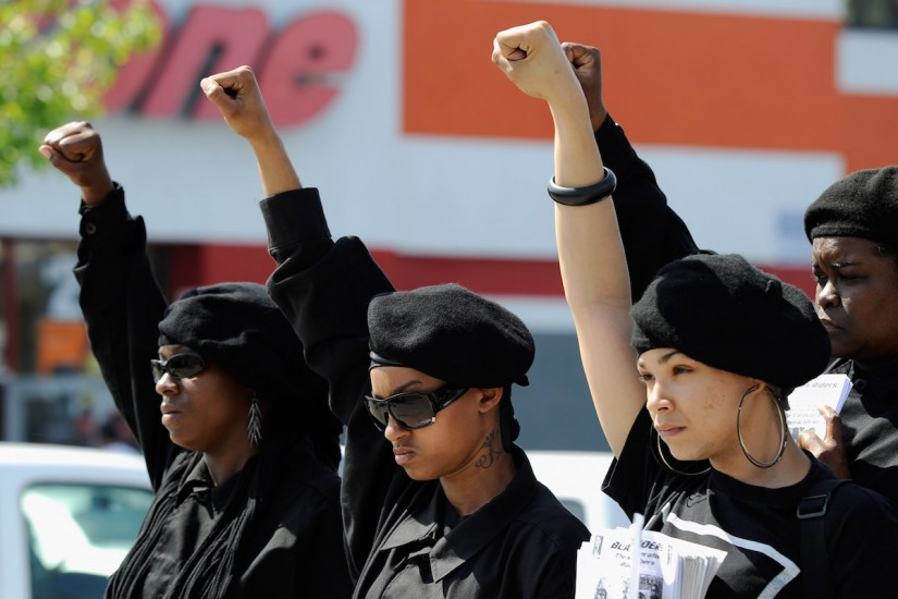 Members of the Black Riders, a new generation of the Black Panther Party, participate in a rally in South Los Angeles on April 29, 2012.